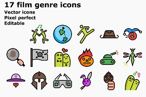 Colored outline film genre icons