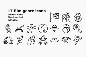 Outline film genre icons