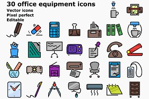 Colored outline office equipment ico