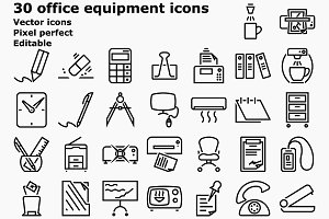 Outline office equipment icons