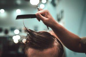 Haircut and hair styling in barbersh