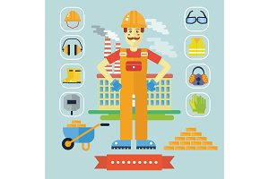 Builder constructor vector man