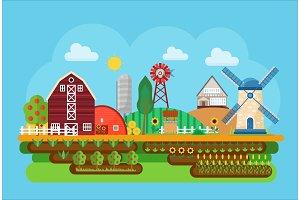 Agricultural village landscape.