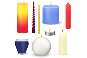 Realistic vector christmas candles