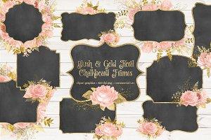 Blush Gold Floral Chalkboard Frames
