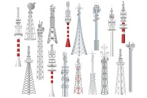 Radio tower vector towered