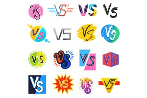 VS vector versus lettering symbol v
