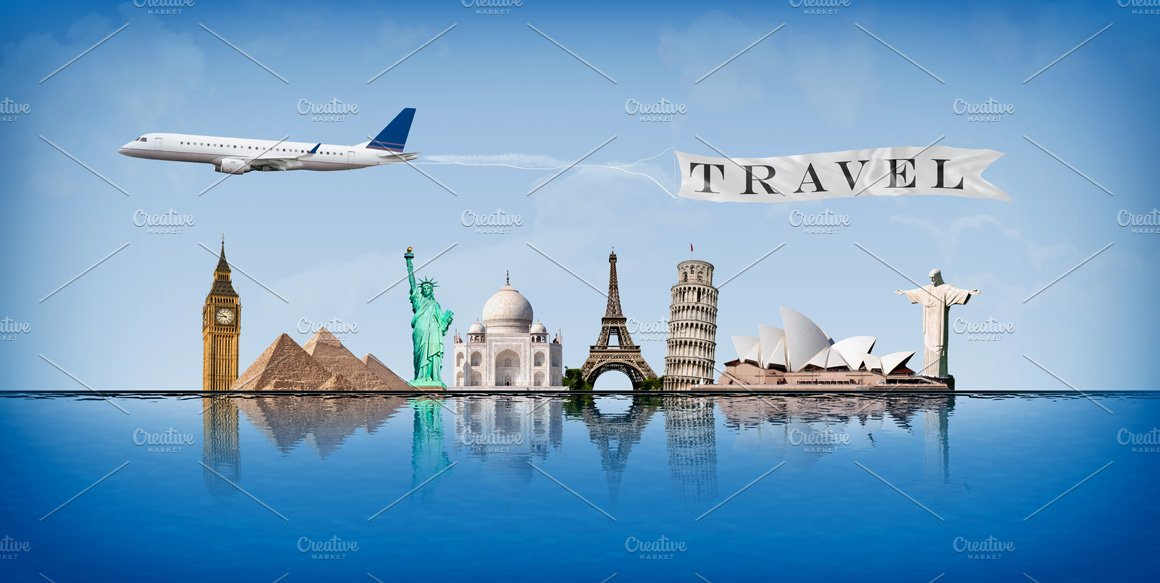Message concept travel around world illustrations for All around the world cruise