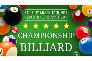 Billiard championship sport, vector