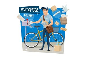 Vector postman on post mail delivery