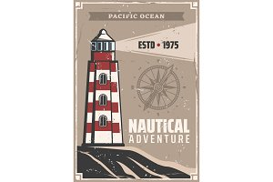Sea or ocean lighthouse poster
