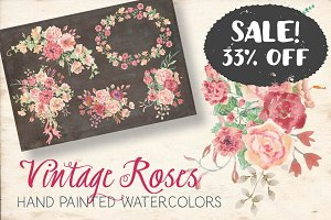 SALE - 33% off: vintage roses sprays