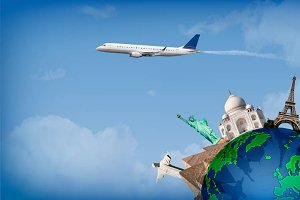 Travel around the world concept air