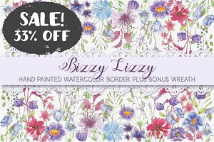 SALE - 33% off: Line drawn flowers