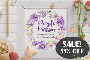 SALE - 33% off: purple flower wreath