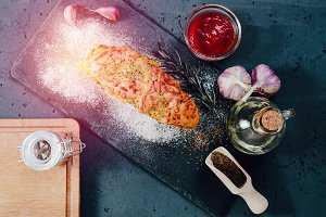 Bread roll with cheese and herbs