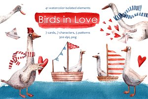 Birds in Love - Watercolor Clip Art