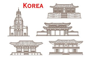 Korea architecture thin line icons