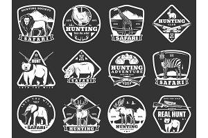 Wild animal icons, hunting adventure