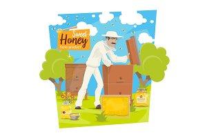 Beekeeping apiary bees and beekeeper