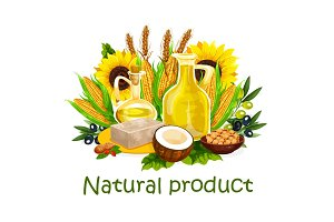 Natural vegetable oil and butter