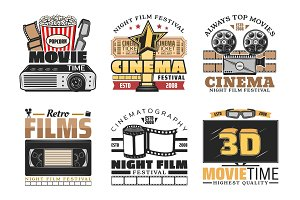 Cinema movie and festival icons