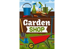 Garden shop and gardening tools