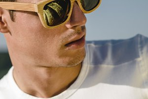 Model man portrait with sunglasses