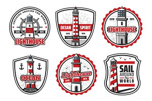 Icons of sea or ocean lighthouse