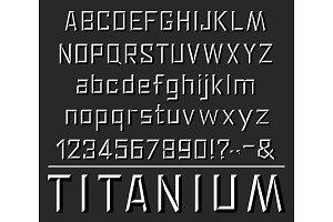 Titanium font letters alphabet