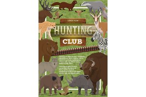 Hunting club poster of wild animals