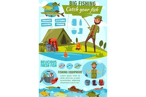 Vector poster of fisher man fishing