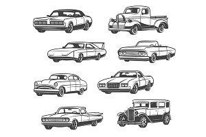 Retro cars and vintage vehicle