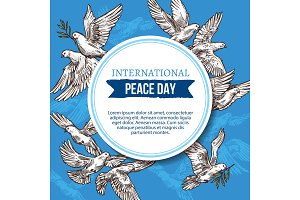 Peace day card with doves in sky