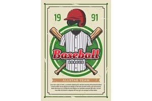 Baseball sport league team poster