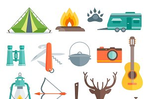 Camping Decorative Flat Icons Set