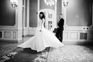 Fairy wedding couple on golden palac