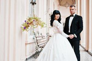 Wedding couple background palace cor