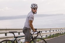 Cyclist portrait in a road outdoors