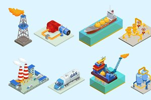 Isometric Gas Industry Elements Set