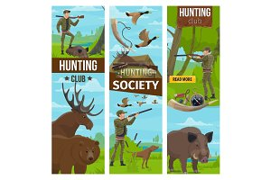 Banners of hunter and animals