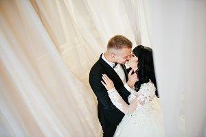 Elegance wedding couple on curtains