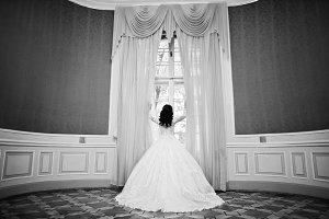 Charming brunette bride holding curt