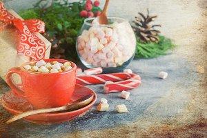 Cup of Homemade christmas hot  choco