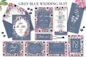 Floral Gray Blue Wedding Invitation