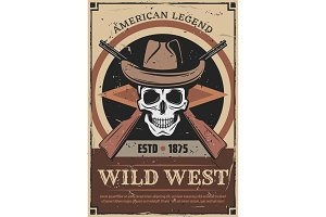 American Wild West skull and gun