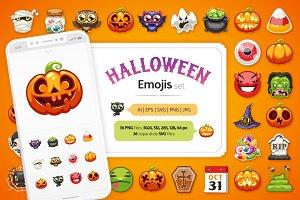 Halloween Emojis Set