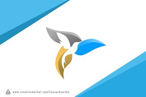 Leaf Bird Logo Template