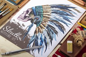 Native american watercolor hat