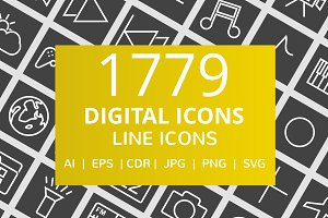1779 Digital Line Inverted Icons